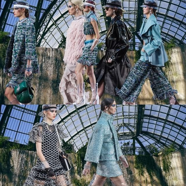 Karl s splash proof optimism at this week s @chanelofficial SS18 extravaganza - let s just take a second to appreciate the cliff face (I REPEAT CLIFF FACE) constructed inside the Grand Palais
