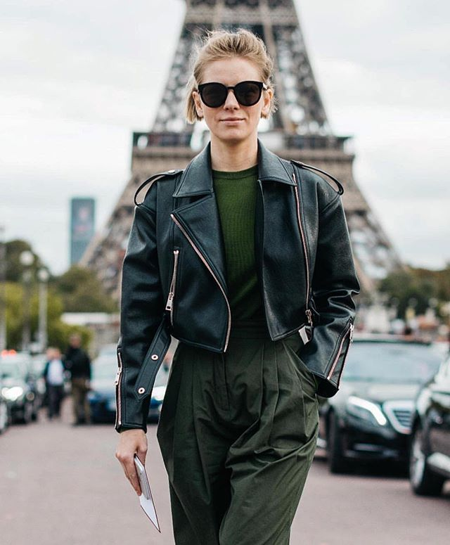 When in Paris...wearing non-leather @vikagazinskaya_official_moscow biker jacket #noanimalswereharmed photo credit @skwad_photography