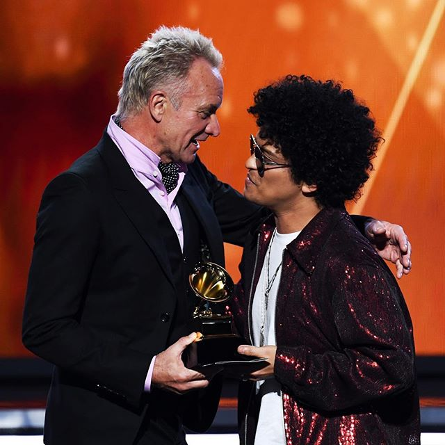 "A legendary moment: Sting presenting Bruno Mars the award for Song of the Year, for ""That's What I Like"" #grammys2018 #buro247singapore"