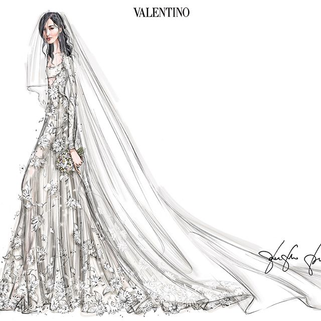 The final sketch and three variations of my Valentino Haute Couture wedding dress by #PierpaoloPiccioli. Which one would you have chosen?   @voguemagazine @maisonvalentino