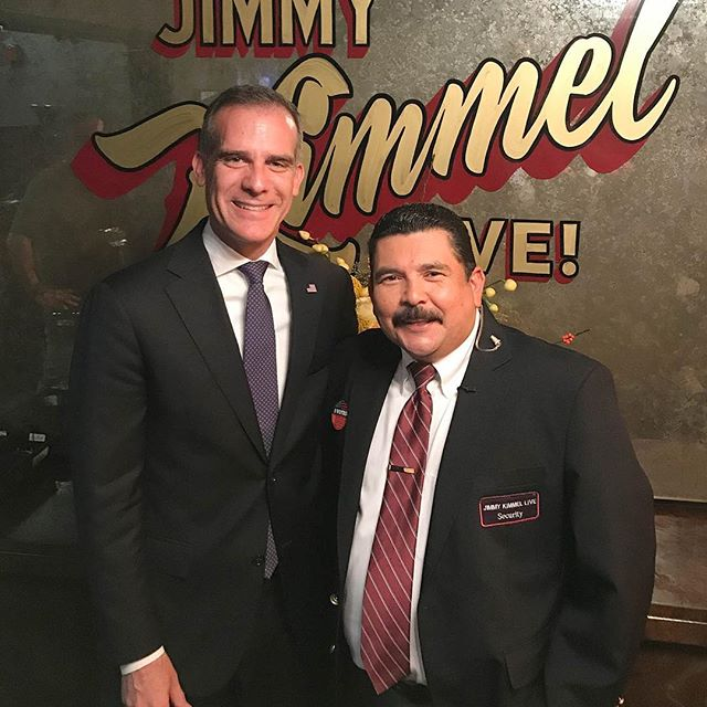 Backstage at #KimmelLIVE after the Midterms with @MayorOfLA @EricGarcetti #ElectionNight #Midterm2018