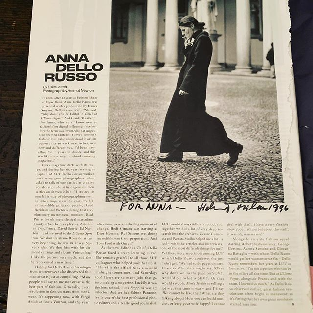 Thanks to @luomovogue       @efarneti November issue for this nice interview by @luke_leitch   pic by @helmutnewtonfoundation
