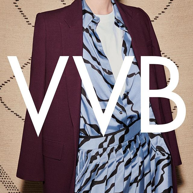 Available now: the #VVBAW18 matching abstract stripe print shirt and skirt, paired with a blazer in nightshade purple. Shop online and at 36 Dover Street London x VB