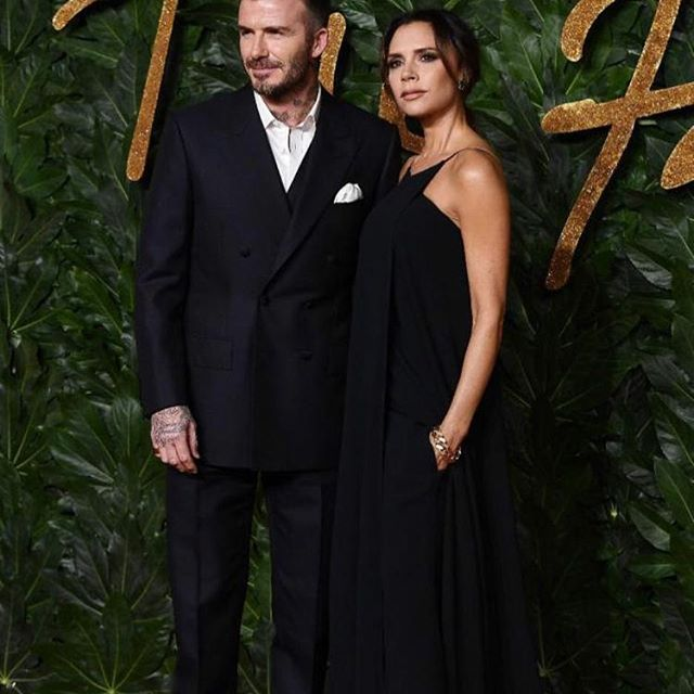 So happy to be at the BFA s tonight with @davidbeckham in his first year as Ambassadorial President and proud to have been nominated in the category of British Womenswear Designer of the Year in my brand s tenth year. Wearing my wrap front evening VB SS19 dress X Kisses #VBSince08