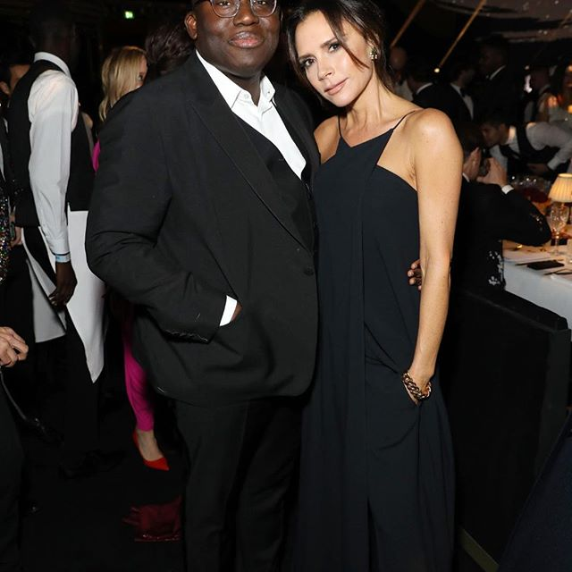 Such a fun evening at the #FashionAwards with @edward_enninful x Wearing #VBSS19, shop my eveningwear edit exclusively at victoriabeckham.com x Kisses