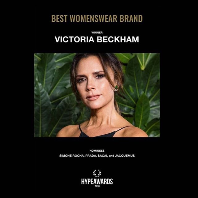 Thank you @hypebeast for the #HB100 2018 award for best womenswear brand! X Kisses VB