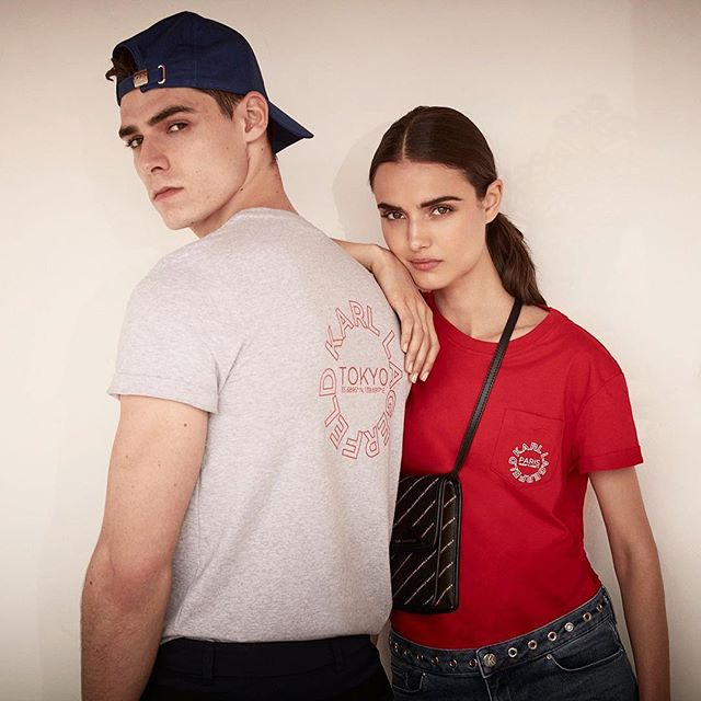 Twinning in #KARLLAGERFELD tees, for him and her.
