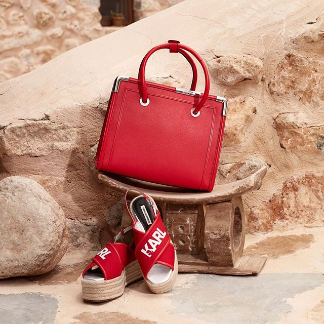 Step into spring with red hot accessories. #KARLLAGERFELD