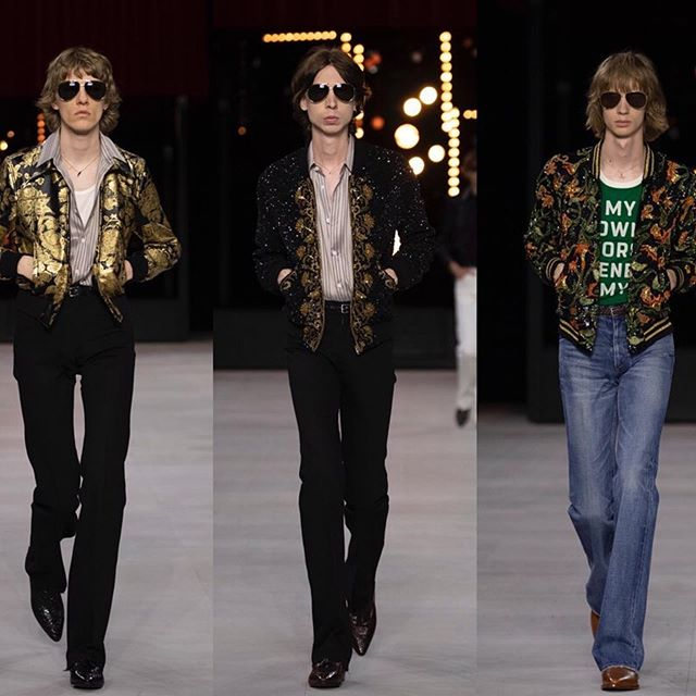 #Repost @fashiontomax    @HediSlimane debuted a 70 s inspired collection for @Celine s spring/summer 2020 men s collection while collaboriting with 5 artists  David Kramer, Zach Bruder, André Butzer, Darby Milbrath and Carlos Valencia.             #FTMRunway / #Celine #HediSlimane #ss20 #pfw #menswear #parisfashionweek #mensfashion #runway #style #model / photos curtesy of @Celine.