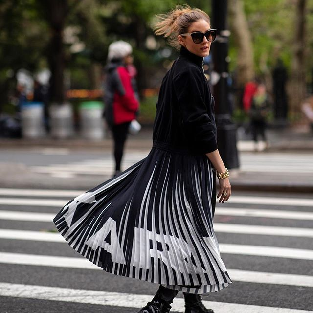 Pleats on the streets      The pleated @karllagerfeld dress is shoppable on OliviaPalermo.com! #karlxolivia