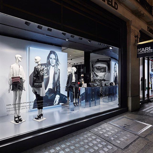 A snapshot from London    @oliviapalermo in the windows of the #KARLLAGERFELD Regent Street store.