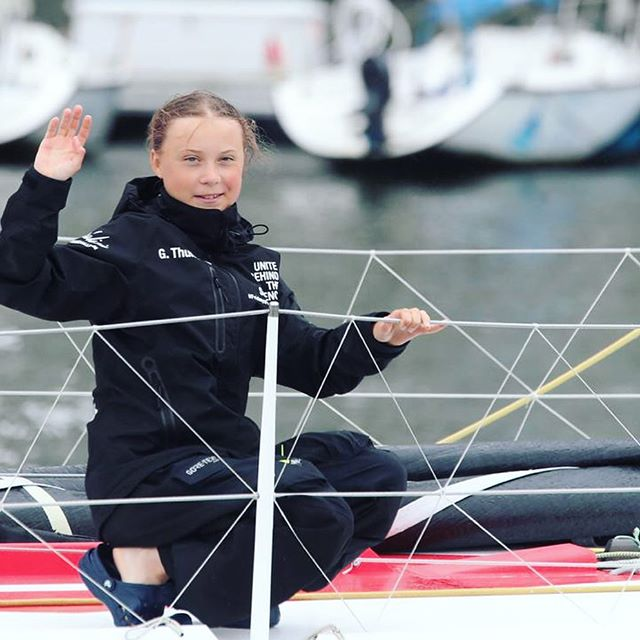 I stand with you, Greta @GretaThunberg and @TheGlobalGoals.  Together we must address the urgency to tackle #ClimateChange. Will you stand with us? #SDGFlotilla #GlobalGoals.  15 days, 4.800 km took @GretaThunberg to cross the Atlantic on a zero emissions Malizia yacht to raise the awareness about Climate Action and the Sustainable Development Goals. Greta will give a speech at the UN Climate Action Summit in New York on September 23rd.