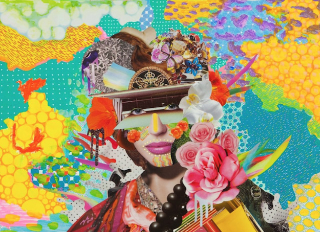 Girl with Accessories, 2014 (collage, acrylic, Marker, Ballpoint on Paper, 550mm × 400mm)