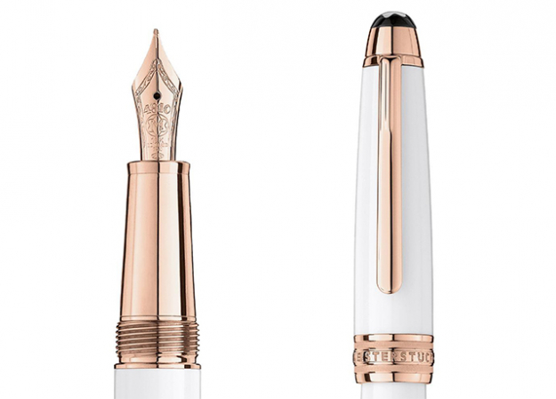 Meisterstück White Solitaire Red Gold Classique Fountain Pen