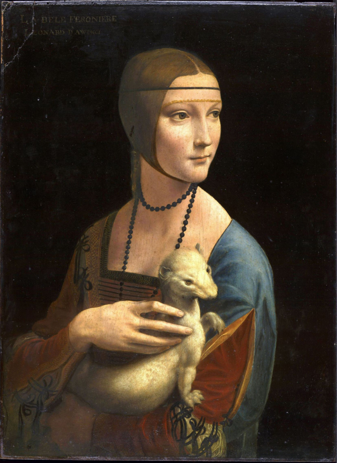 """Lady with an Ermine"", 1490, National Museum in Krakow, Poland"