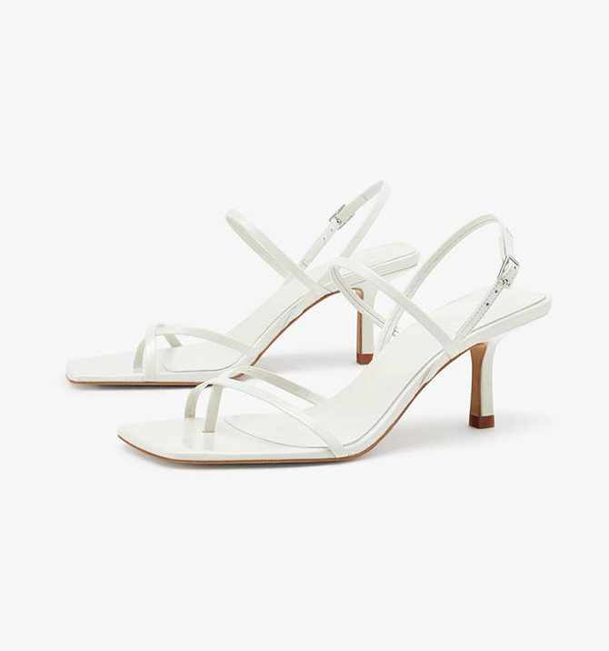 MID-HEEL STRAPPY LEATHER SANDALS