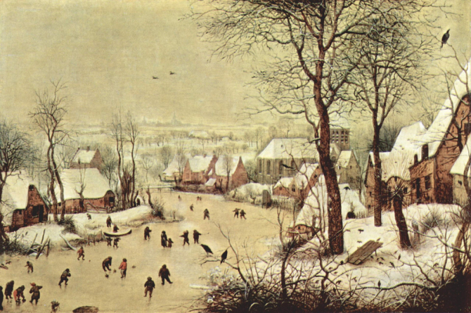"""Winter Landscape with Skaters and Birds Trap\"", 1565, Royal Museums of Fine Arts of Belgium, Brussels"